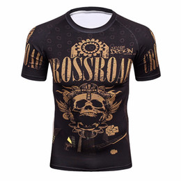 volle druckt-shirts großverkauf Rabatt Wholesale-3D Full Prints T-Shirts Mens Kompression Shirt Basisschicht Kurzarm Training Fitness MMA Bodybuilding Tops Rashguard T-Shirt