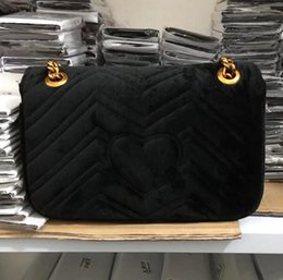 Wholesale interior gifts - Free shiopping 2018 New gift Fashion black chain makeup bag famous luxury party bag Marmont velvet shoulder bag Womendesigner bags