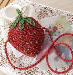 Wholesale Knit Strawberry - College Wind Strawberry Messenger Handmade Woven Bag Shoulder Cute kawaii straw bag Summer Holiday Beach bag