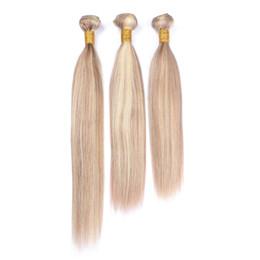 Смешанные блондинки наращивание человеческих волос онлайн-Фортепиано цвет 27 и 613 человеческих волос расширения 3 шт. Мед блондинка смешать со светлой блондинкой шелковистой прямой 3Bundles для женщины