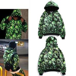 Светящиеся толстовки онлайн-18SS череп куча с капюшоном световой череп свитер Мужчины Женщины Повседневная мода спорт хип-хоп уличная капюшоном толстовка