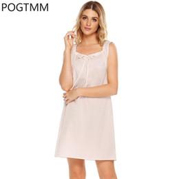 Wholesale Sexy Nightshirts - Plus Size Summer Nightgown Sexy Bow Decor Nightdress Cotton Nightshirt Sleeveless Sleepshirt Sleepdress Female Clothing XXL YP