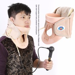 Wholesale neck collar support - New Household Cervical Collar Neck Brace Air Traction Therapy Device Relax Pain Relief Neck Support Fixture Neck Traction Brace