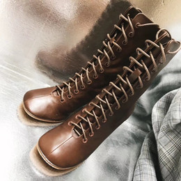 Mulheres moda moda marrom on-line-Counter qualidade de couro genuíno lace-up causal mulheres moda ankle boots preto + branco + sapatos marrons