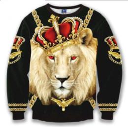 Rey león sudadera con capucha online-Nueva moda sudadera con capucha sudaderas con capucha hombres mujeres 3D Print Crown Lion King cadena caliente estilo Streetwear manga ropa B93