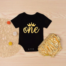 Wholesale winter birthday outfits baby girls - MUQGEW 2PC Kids Baby Girls Letter Print Birthday Romper Tops+Shorts Set Outfit 1 year happy birthday kids clothing set neonato