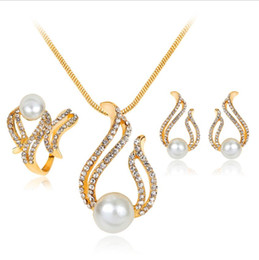 antique jewellery pendants Promo Codes - Pearl Water Drop Crystal Fire Shape Pendant Necklace Earrings Ring Jewelry Sets Antique Gold for Women Jewellery