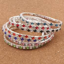 Wholesale wholesale copper bracelets - Hot sell 16Colors 3Length Colorful Spring 1-Row 2-Row Rhinestone Crystal Bracelets Tennis hot sell Jewelry Fashion