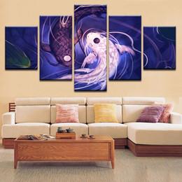 2019 pintura de peixes sala de estar Multi-estilos Pintura Moderna Na Arte Da Parede Da Lona Fotos Peixe Koi Casa Decoração Cartazes No Frame Sala de estar HD Pintura Impressa pintura de peixes sala de estar barato