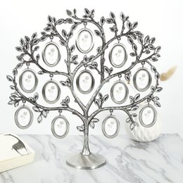 Wholesale Tree Picture Frames - 30*30cm Family Tree Hanging Photo Picture 12 Frame Holder Table Top Desk Display Decor Newest Creative Fashion
