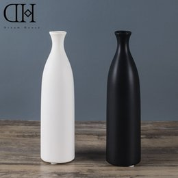 Wholesale Ceramic Bottle Vase - Genuine Dream House DH VS128553 white ceramic flower case black porcelain flower bottle home decoration accessories wedding vase