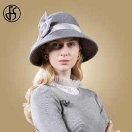 FS Sombreros negros Lana Mujeres 2018 Otoño Invierno Gris Ancho de ala  ancha Sombrero redondo Fieltro Vintage Bow Top Cloche Fedoras Chapeu de  Feltro 59c9b3db8e0
