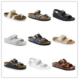 zapatillas de corcho Rebajas Mayari Arizona Gizeh 2017 venta caliente verano hombres mujeres sandalias planas zapatillas de corcho zapatos ocasionales unisex imprimir colores mezclados tamaño 35-46