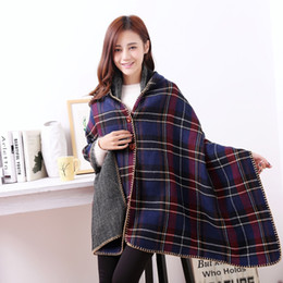Wholesale winter ponchos for women - 2018 Womne Winter Bandana Scarf Scarves For Women Female Shawls Poncho Artificial Cashmere Scarf Luxury hot Plaid Stoles Scarf