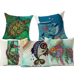 Wholesale Decorative Bohemian Pillows - Barracuda Cushion Cover Bohemian Style Turtle Marine Animals Home Decorative Pillow Case for Sofa Abstract style