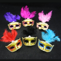 Wholesale Venetian Gifts - Venetian Gift Cosplay Party Mask Half Face Feather Mini Masquerade Mask Halloween New Year Gifts Carnaval Masks 12PCS LOT