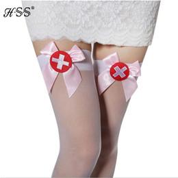 Wholesale Nurses Sexy Uniform - Wholesale- Nurses uniforms temptation sexy stockings White knee stockings