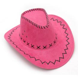 Wholesale Lady Fancy Dress Free - DHL Men Cowboy Hats Adults Kids multi-colors casual hat Suede Wild West Fancy Dress Men Ladies Cowgirl Unisex wide brim Hats