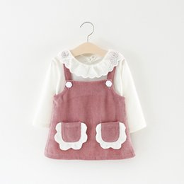 Wholesale Korean Outfit Dress - Everweekend Kids Girls Suspender Dress Pockets Korean Corduroy Dress White Tops Blouse 2pcs Spring Outfits Sets