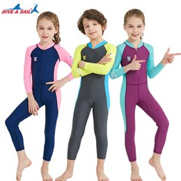Wholesale Girls Swimwear Long - DIVE&SAIL Kids Wetsuits Quick Dry Sunscreen Rash Guards One-piece Long Sleeved UV protection Swimwear Diving Suit Boys & Girls
