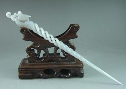 Bastões de cabelo de jade on-line-Requintado antigo chinês branco jade carving phoenix hairpin hair stick