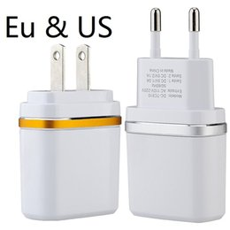 Wholesale Iphone Ring Mp3 - Dual usb ports Eu Us With Ring 2.1A+1A Travel Ac home wall charger power adapter for ipad iphone 7 8 X samsung s7 s8 android phone pc mp3