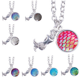 Wholesale Fishing Slide - Mermaid scale necklace, fish scale necklaces, 12 scale color mermaid necklace dainty pendant, shimmery mermaid jewelry Birthday Gifts 162576