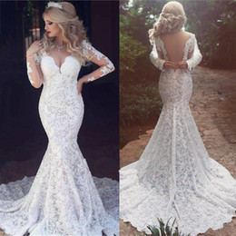Wholesale Classic Vintage Wedding Dresses - Vintage Full Lace 2018 Wedding Dresses Sexy Open Back V Neck Classic Bridal Gowns Long Sleeves Arabic Dubai Wedding Gowns