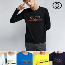 Homens moda casual manga comprida camisas on-line-Designer de moda Camisas Dos Homens Roupas de Impressão de Manga Longa Slim Fit Camiseta Homens T-Shirt de Algodão Casuais Cor Sólida Camisetas