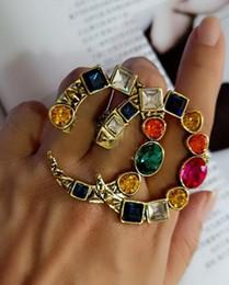 Diseñador de la marca retro Cluster Ring Mujeres Declaración de cristal de la vendimia Anillos Famosa marca de joyería de regalo para el amor de calidad superior desde fabricantes
