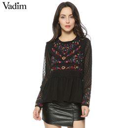 Le donne vintage ricamo floreale pieghettato camicie di chiffon trasparente puntini sexy manica lunga retrò camicetta casual blusas LT1371 da