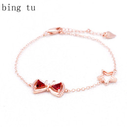 Wholesale Thin Chain Bracelets For Women - Bing Tu Stars Chain Bracelets For Women Wedding Bridal Rose Gold Color Jewellery Lovely OL Style Bowknot Thin Bracelet Bangle