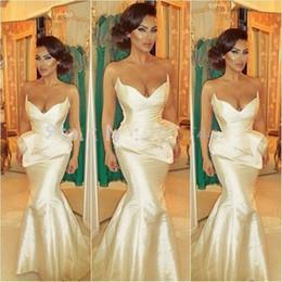 Wholesale Vestido Longo Peplum - Sexy Mermaid Evening Dresses Sweep Trian Long Prom Party Gowns Ivory Taffeta Vestido De Festa Longo Formal Dress
