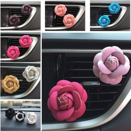 Profumo di olio di rosa online-Rose Car Air Umidificatore Olio Essenziale Diffusori Veicolo Purificatore D'aria Sfiati Auto Clip di Profumo Auto Car Fragranza Deodorante HH7-1854