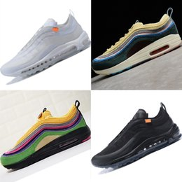 Wholesale fabric shoes pattern - Classic 97 OG Aircushion Shock Absorption Running Shoes 97 GS Mesh Ventilation Summer Outdoors Sneakers Sports 97s
