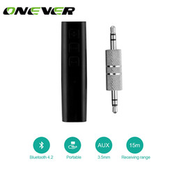 Wholesale Mini Headphone Speaker - Onever Universal Mini Wireless Bluetooth Car Kit Handsfree 3.5mm Jack Bluetooth Audio Receiver Adapter AUX for Speaker Headphone