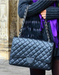 Wholesale black computer bag - Top Quality Brand XXL Classial 33CM Maxi Quilted Chain Bag Black Genuine Lambskin Leather Double Flaps Caviar leather Shoulder Bag