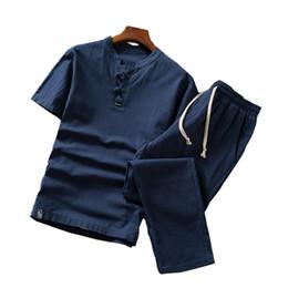 Lin hommes s costumes en Ligne-Costume à manches courtes hommes d'été 5XL coton lin hommes deux pièces ensemble mode casual homme lâche et confortable pantalon à cordon