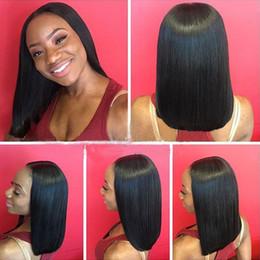 parrucche per capelli naturali per afro-americani Sconti Parrucche diritte del merletto dei capelli umani di Remy delle parrucche della parte anteriore del pizzo dei capelli del Virgin indiano con i capelli del bambino per colore naturale degli afroamericani Trasporto libero