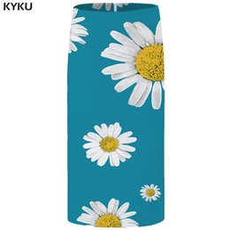 Gonne di anime online-KYKU Flower Skirts Women Blue Gonna a tubino Vintage Party Sundresses Beautiful Casual Floral Anime Ladies Gonne Donna 2018 Nuovo