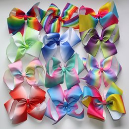 retail Least JOJO 8'' grosgrain ribbon hair bows hair clips boutique rainbows bow girls hairbow For Teens Gift 1pcs Coupon