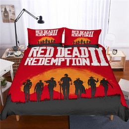 Rote bettwäsche zwilling online-3D Red Dead Redemption 2 Design Bettwäsche Set 2PC 3PC Bettbezug Set Bettbezug Kissenbezug Twin Full Queen King Size AU US GB Erwachsene