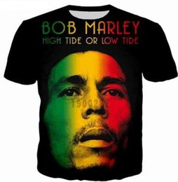 Wholesale Reggae Fashion - New Fashion Couples Men  Women Unisex Reggae Bob Marley Funny 3D Print No Cap Casual T-Shirts Tee Top Wholesale QW70