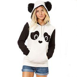 Wholesale Panda Coats - HOT Fashion Cute Womens Girls Long Sleeve Panda Pocket Hoodie Sweatshirt Hooded Pullover Tops Coat Jacket Casual Clothes