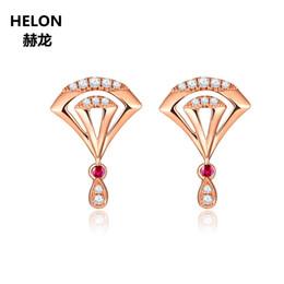 orecchini di diamanti rubino Sconti Orecchini in oro massiccio 14 carati in oro rosa con diamanti naturali per fidanzamento Orecchini in oro con rubini autentici