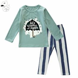 Wholesale Umbrella Sleeves - Biniduckling Spring Autumn Baby Girl Clothes Baby Clothing Sets Umbrella Striped Printing T Shirts +Pants For Girl Pajama Sets