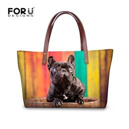 Wholesale ladies french dresses - FORUDESIGNS Colorful Women Big Tote Cross Body Bags Cute 3D French Bulldog Pattern Handbags for Ladies Shoulder Bag Bolsos Mujer