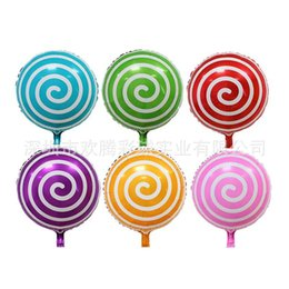 """Wholesale Lollipop Ornament - 18"""" Foil Inflatable Balloons Color Stripe Lollipop Ball Kid Toy Happy Birthday Party Decoration Promotional Gift Baby Shower Ornament 50p"""