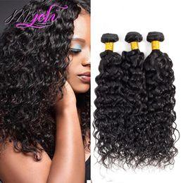 Prix pour cheveux remy en Ligne-Prix de gros Vague D'eau Cheveux Bouclés Armure Remy Malaisienne Vierge Cheveux Humides Et Ondulés Malaisiens Extensions de Cheveux Humains 3 Pcs / lot