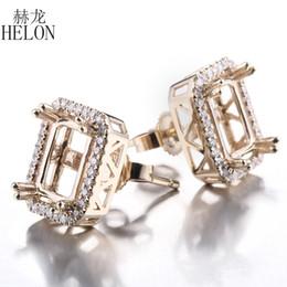 boucle d'oreille Promotion HELON émeraude Cut 5x7mm-6.75x8.75mm Semi Mount boucle d'oreille solide 14K Or jaune Diamants Naturels Stud Earring Femmes À La Mode Bijoux